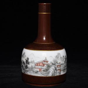 瓷器 木纹釉墨彩山水人物摇铃尊瓶