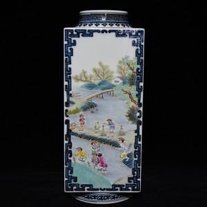 瓷器 青花粉彩农家乐人物琮式方瓶