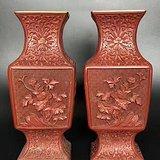 建国初  183 四季花卉纹剔红对瓶F885