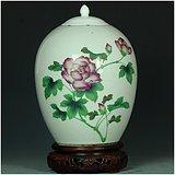 全品相美器!全网最低价!解放初手绘花卉粉彩细瓷大罐