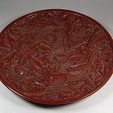 老红色雕漆满工带款花卉凤鸟纹大圆盘摆件