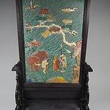 老红木镶嵌松石多宝螺钿松鹤人物吉象官做大插屏摆件
