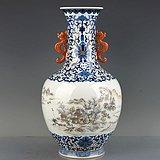 大清乾隆年制青花描金墨彩山水纹双耳瓶 古玩古董古瓷器老货收藏