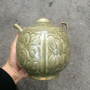 老耀州窑刻画茶壶