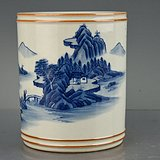 大清康熙年制青花山水纹笔筒 古玩古董古瓷器老货收藏