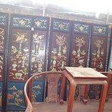 古玩收藏紫檀大漆彩绘八扇屏风隔断会所厅堂别墅