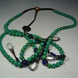 近现代天然原矿绿松石搭配各色琉璃珠水晶计数背云大朝珠串