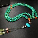 c45手工精编绿松石团寿龙纹苹果珠宫廷款108子佛珠项链