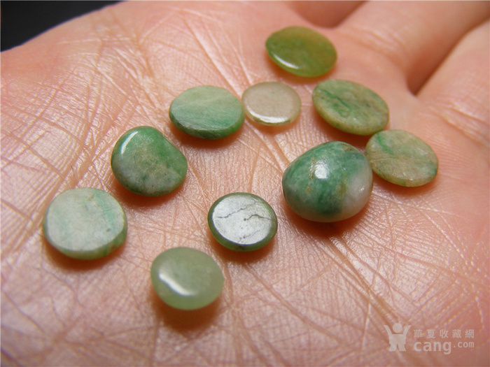清代老坑a货淡绿色 飘绿与带沁翡翠圆形随形小镶嵌件10件