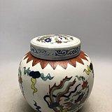 五彩凤凰瓷罐A1516