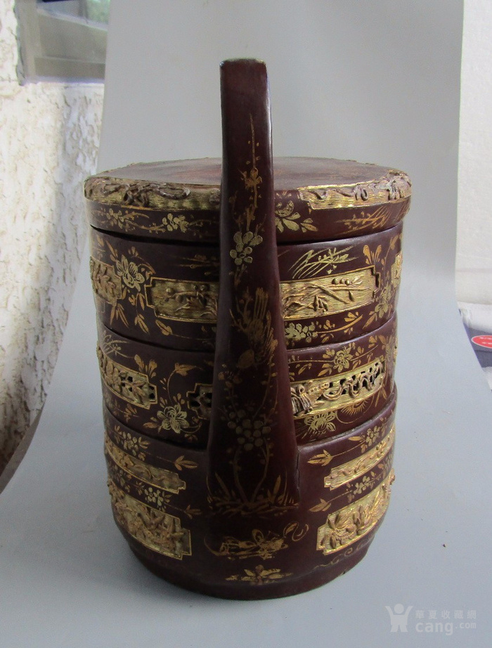 民国竹胎漆器提盒图3