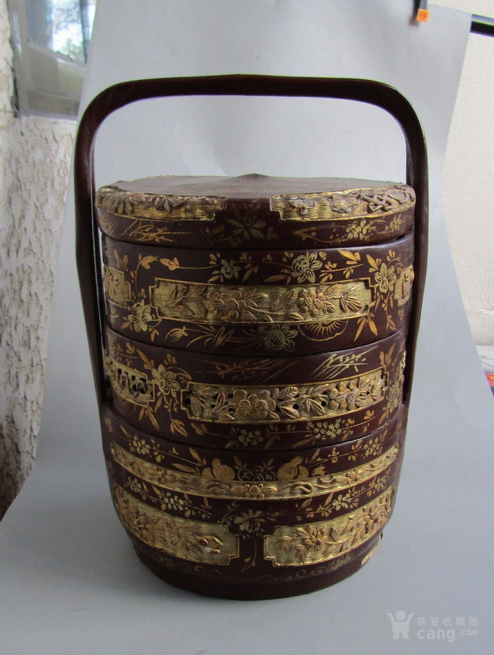 民国竹胎漆器提盒图2