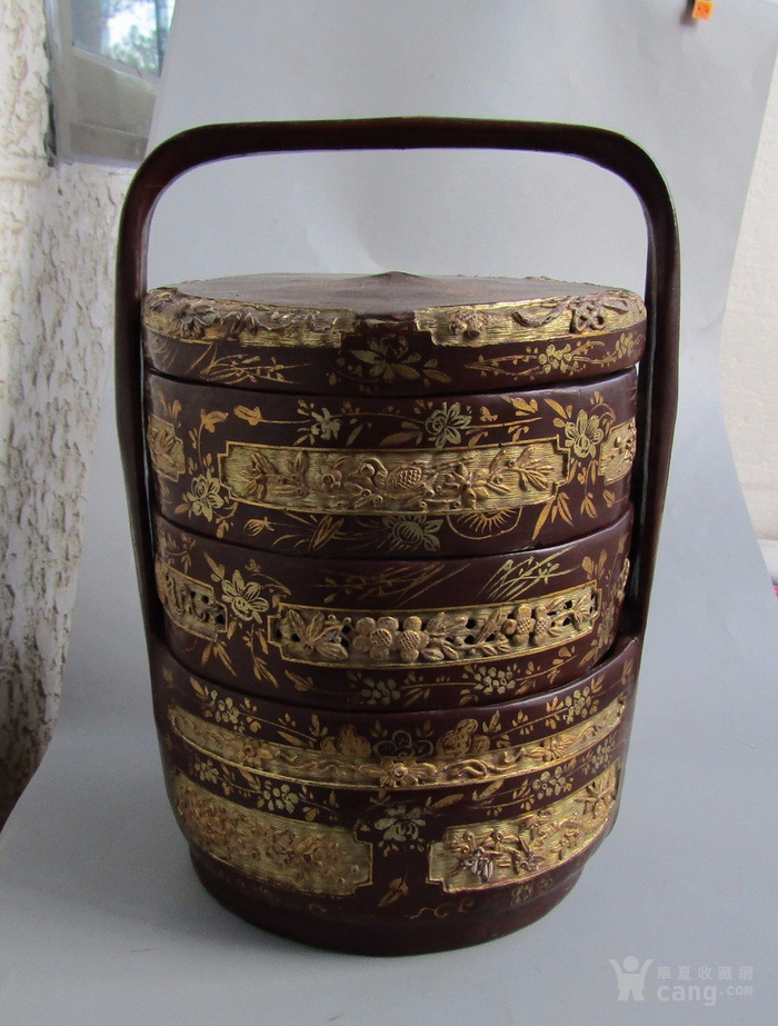 民国竹胎漆器提盒图1