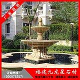 黄锈石水钵 花岗岩石材雕刻 园林景观石雕喷水池