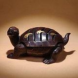 紫铜鎏金錾刻龟形香炉熏香炉玄武摆件文房收藏铜器精品