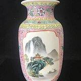 创汇期粉彩灯笼瓶F81