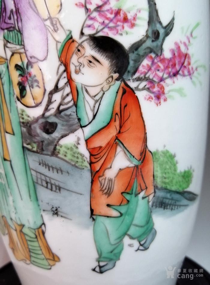 民国早期,粉彩 美人婴戏 图,大号花瓶