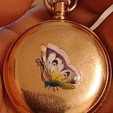 靓丽的蝴蝶珐琅彩三开门猎壳怀表  生于1892年的美丽精灵