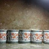 六个粉彩双龙竹节把手茶杯 全品