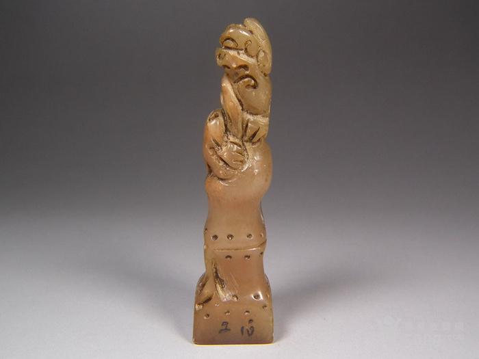 老寿山石高浮雕竹节螭龙大印章图1