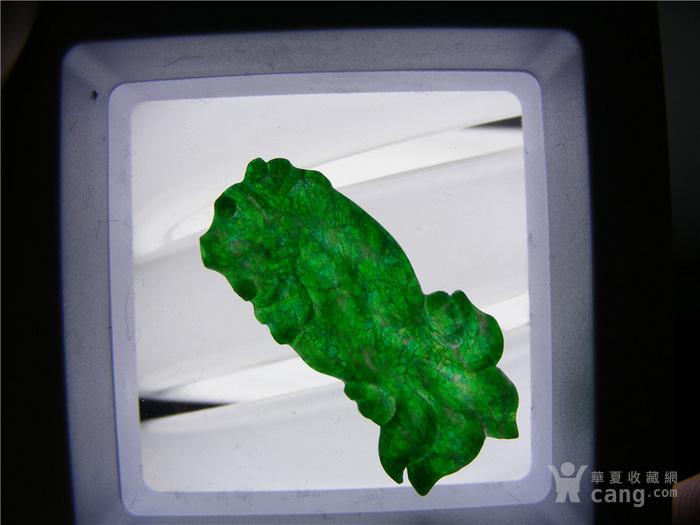 几十年的B货新工满浓绿色翡翠背面打洼薄片型金鱼大镶嵌件