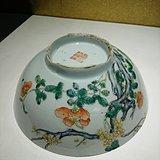 清代 乾隆粉彩过墙梅花牡丹花卉陈设大碗 官窑级旧藏老瓷