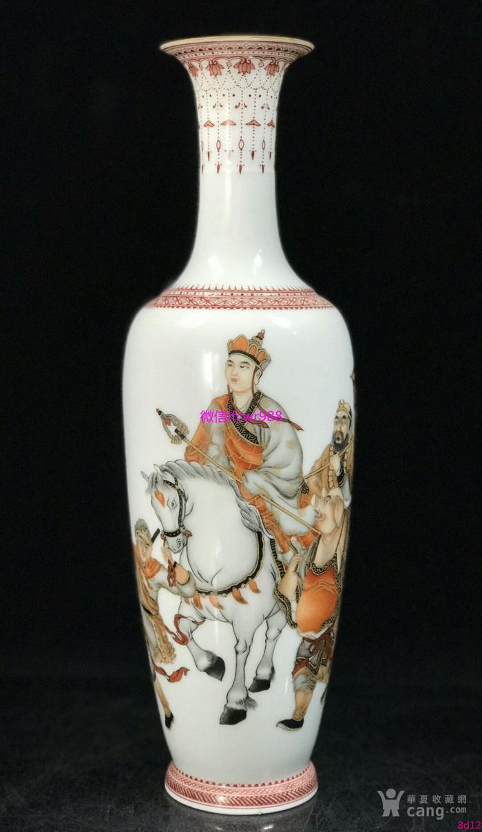 民国墨彩西游记人物故事纹薄胎柳叶瓶古玩瓷器收藏图片