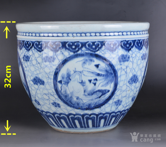 清 青花 鱼草纹 大缸图2