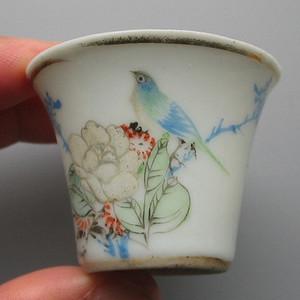 瓷绘名家仙槎绘粉彩花鸟纹定制袖珍马蹄杯一件  小可爱