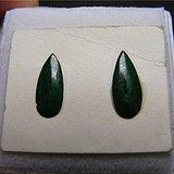 清代老坑A货满浓绿色翡翠凸起水滴形大镶嵌件2件一起拍的