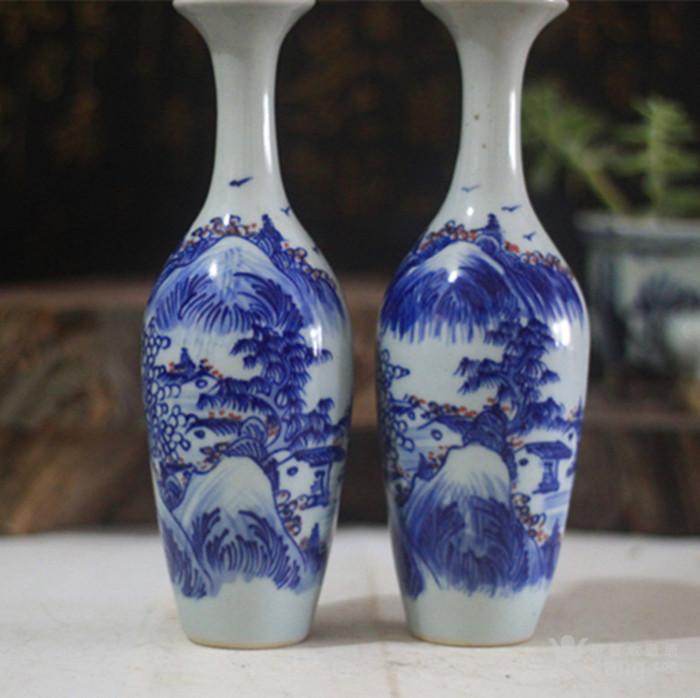 青花山水柳叶瓶一对图片