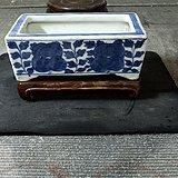 清中期青花花卉带座文房水仙盆