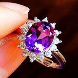 2克拉完美无裂紫水晶!纯天然原矿紫晶漂亮纯银戒指