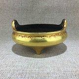 清代传世黄铜双耳香炉