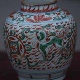 清代满工红绿彩花卉罐