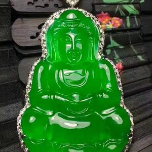 缅甸翡翠高质量胶感帝王绿大观音