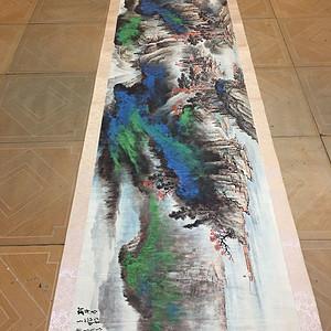 张大千。山水画 长卷画