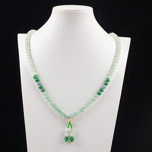 缅甸翡翠好种三彩108颗珠链