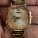上海海达手动机械镀金女式老腕表