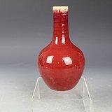 清中期红釉天球瓶