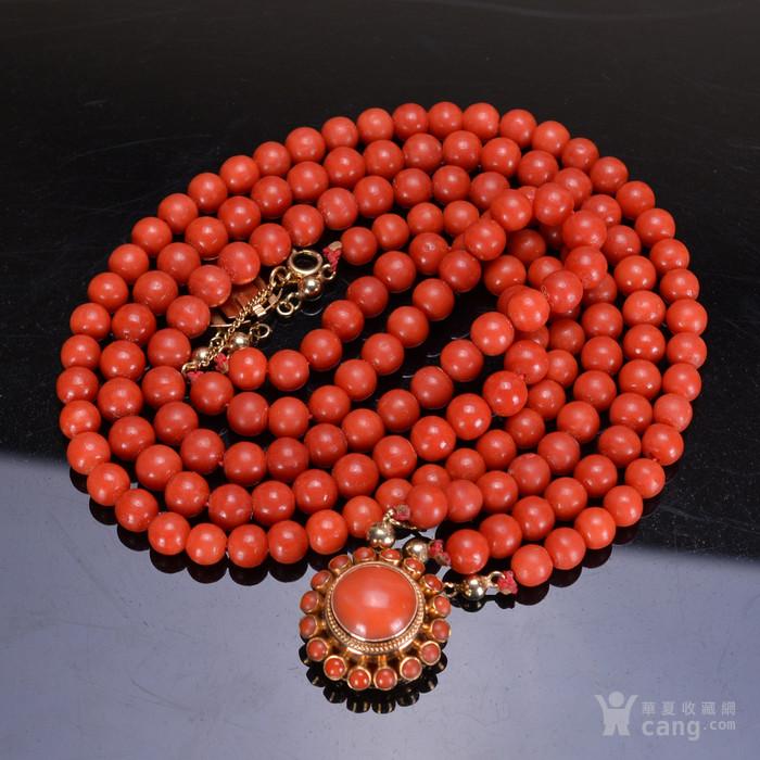 14K金 天然红珊瑚 项链图1
