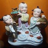 八十年代枫溪人物瓷塑    招财进宝