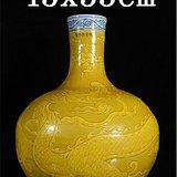 青花地黄龙纹天球瓶