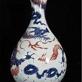 青花釉里红龙纹玉壶春瓶