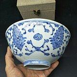 清中期青花折枝花卉纹碗