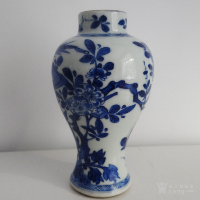海外回流清康熙青花植物花卉瓶图2
