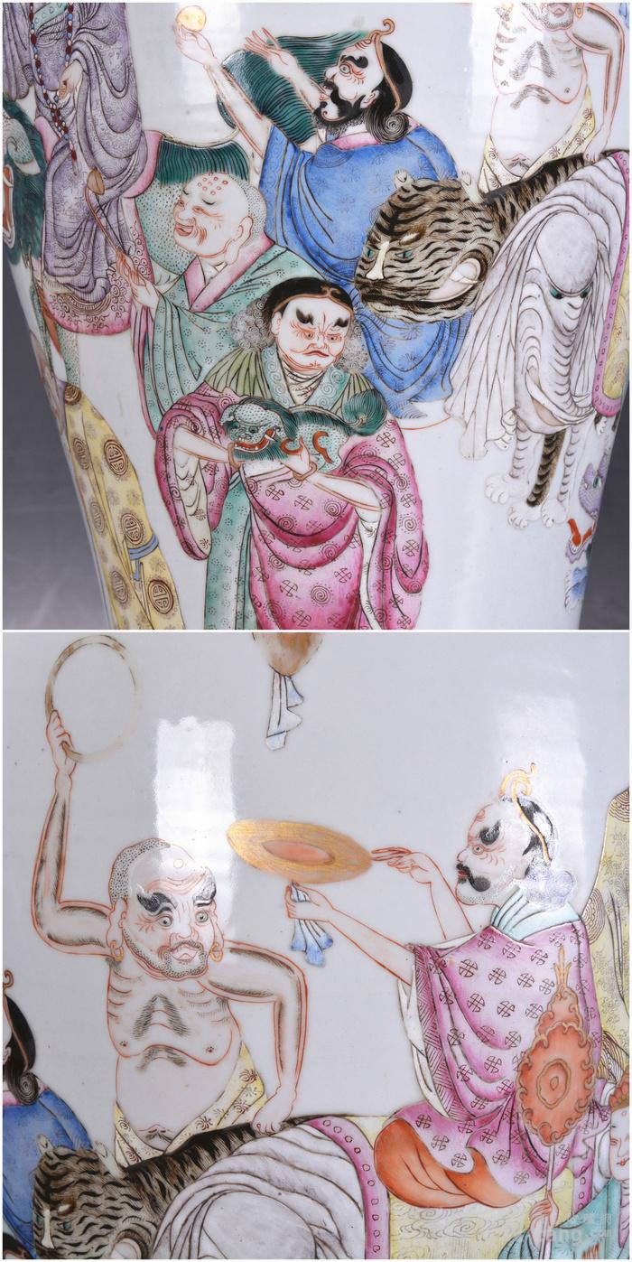 晚清民国 粉彩十八罗汉300件大瓶图7