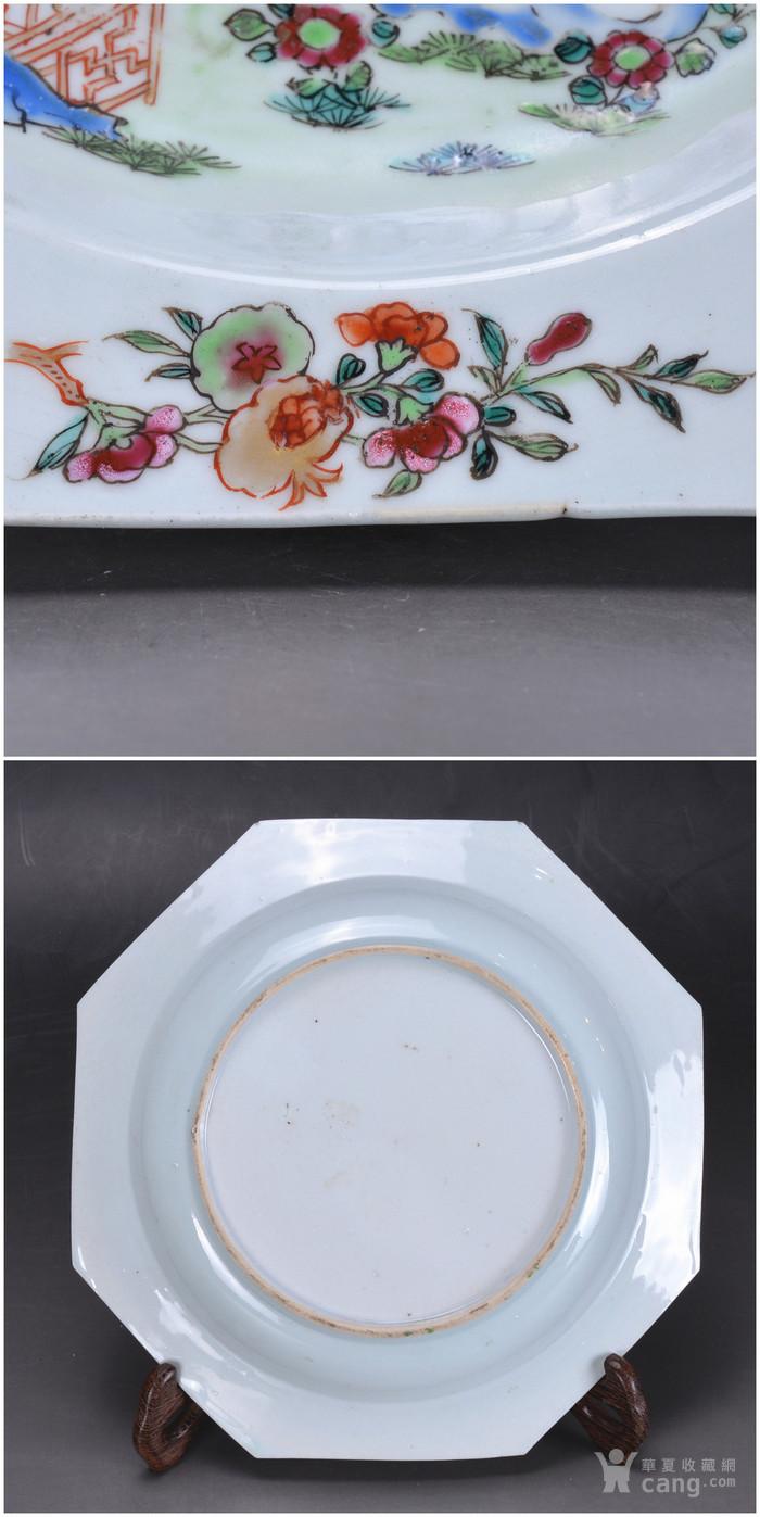乾隆 粉彩描金花卉 八方盘 一对图6