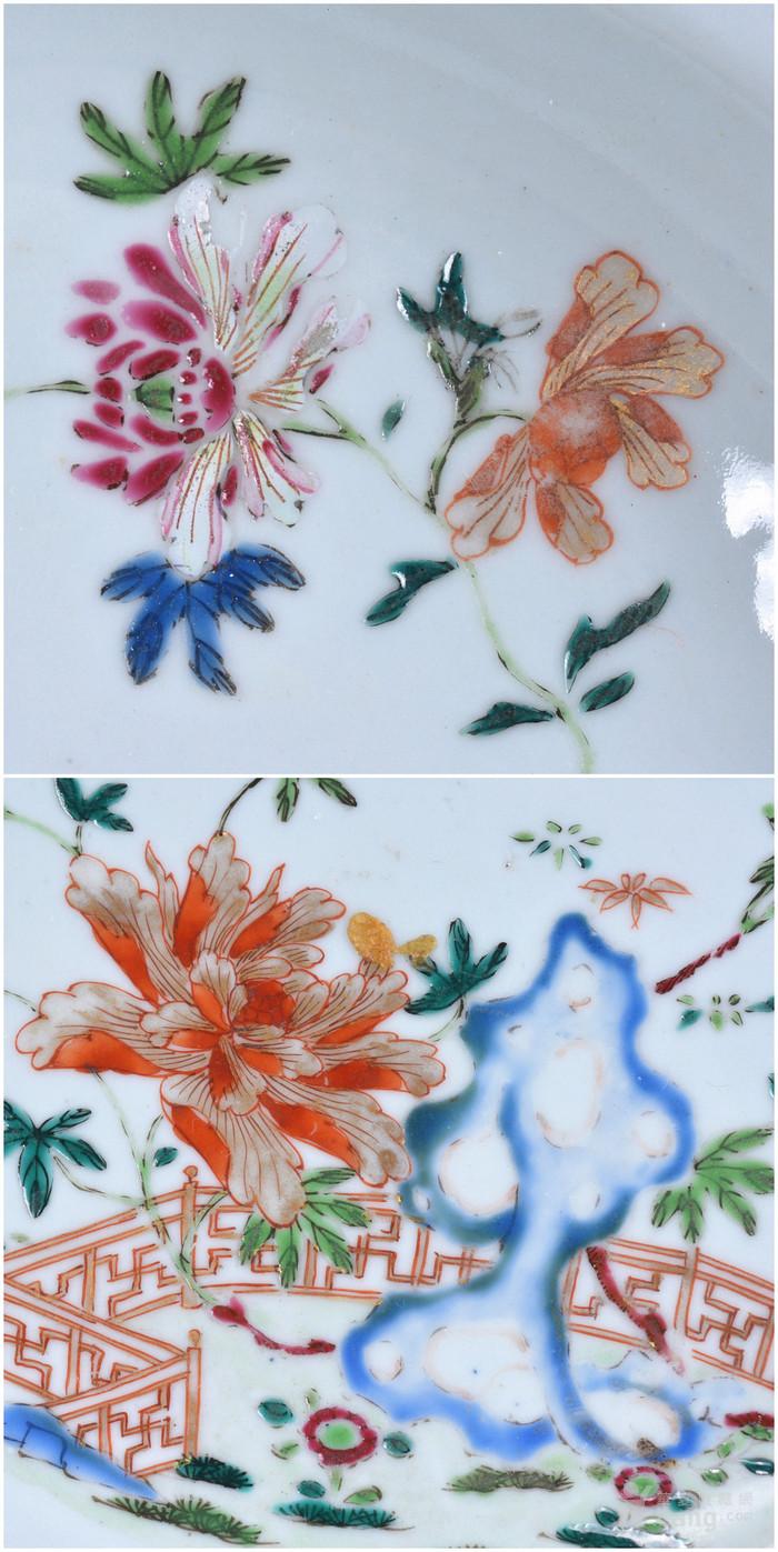 乾隆 粉彩描金花卉 八方盘 一对图9