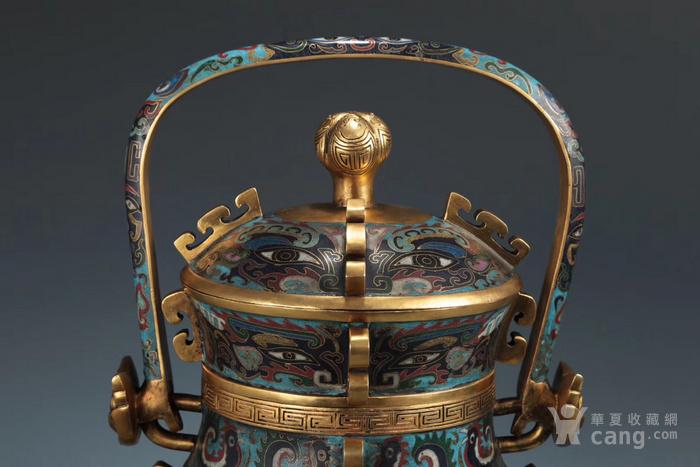 精铸铜胎景泰蓝掐丝珐琅兽面纹提梁卣